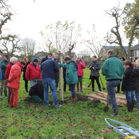"""Wethouder Piet de Klein, José Blom (bestuurslid van Stichting Landschapsbeheer Gelderland) en pastoor Bertus Visschedijk hebben toen gezamenlijk """"onze eerste boom"""" aangeplant ."""